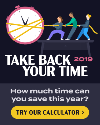 Take Back Your Time 2019 Campaign image with a call to action to Try Our Calculator