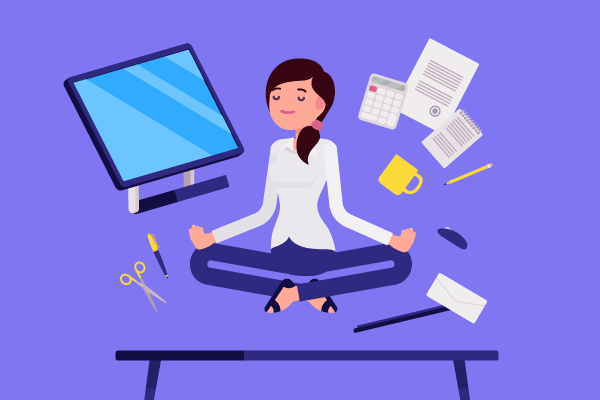 illustration of business women in zen with her work documents and computer