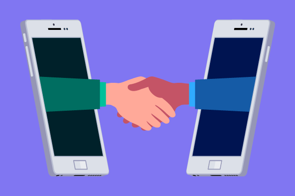 Illustration of businesspeople shaking hands via their phones