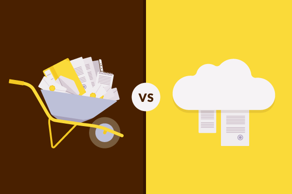 Comparison of paper storage versus cloud storage