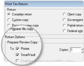 Screenshot of the print box feature in Lacerte for SmartVault integration