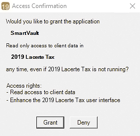 Screenshot of access confirmation in Lacerte
